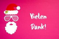 Santa Claus Paper Mask, Pink Background, Danke Means Thank You