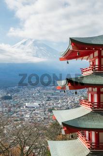 Red pagoda with Mountain Fuji Japan