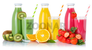 Fruit juice drink green smoothies orange juices glass and bottle isolated on white