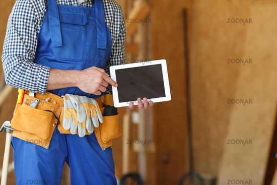 Construction worker and tablet pc