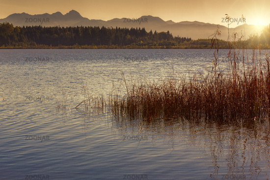 Sunset at a lake in Bavaria