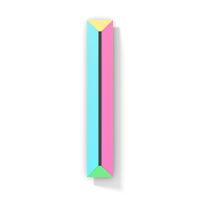 Neon color bright font Letter I 3D
