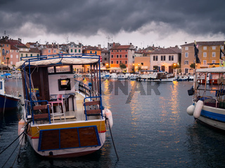 Dark clouds thunderstorm at the port of Rovinj Croatia