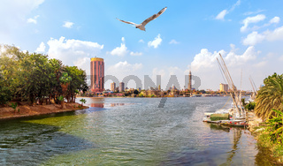 Cairo downtown view, harbour in the Nile near the Gezira island