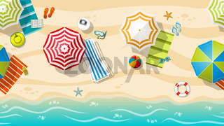 Seamless beach resort with colorful beach umbrellas, part 2 of 3