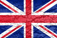 british flag of Great Britain or United Kingdom UK on broken glass