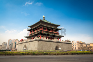 xian bell tower in the center of the ancient city