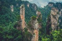 Landscape of Stone Tianzi Mountain pillars in Zhangjiajie