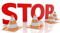 Stop concept with Traffic cones on white