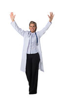 Female doctor with arms raised