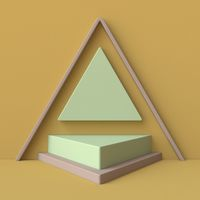 Green and brown abstract background made of triangles with pedestal 3D