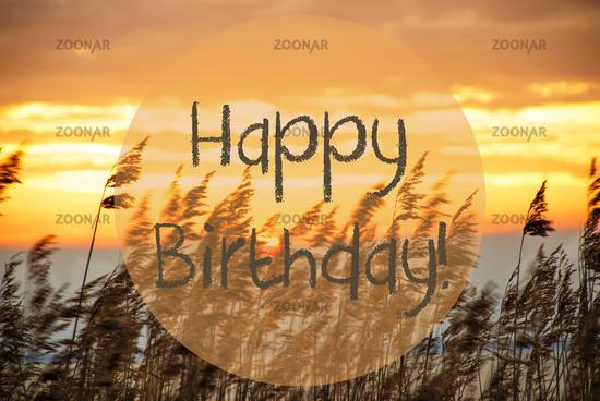 Beach Grass At Sunrise Or Sunset, Text Happy Birthday