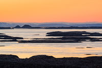 Many islands at sunset in Iceland