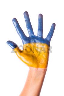 Child's hand in Ukraine colours