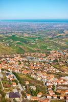 Borgo Maggiore in San Marino and valley of Emilia-Romagna