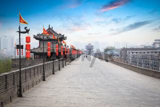 beautiful ancient city of xian at dusk
