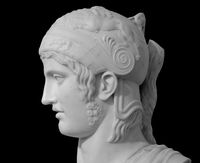 Ancient roman statue. Head and shoulders detail of the man sculpture. Antique face statue isolated on black background