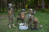 Soldiers Squad are Using Drone for Scouting