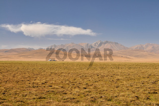 Scenic view of traditional landscape on green grasslands in Kyrgyzstan