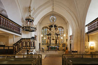 Interior view of St. Cosmae et Damiani church with pulpit and baroque altar, Stade, Germany, Europe