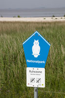 Sign national park at the coast