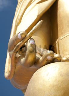 Buddha`s hand with lotus flower. Golden Buddha statue in Tibetan Monastery. India