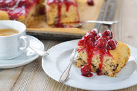 Cherry cake with a coffee