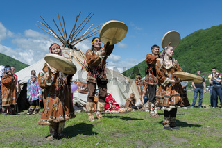 Incendiary dance of indigenous inhabitants of Kamchatka with tambourine