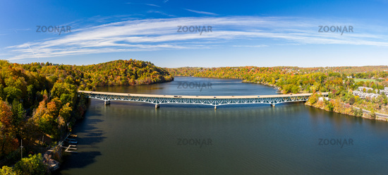 Aerial panorama of fall colors on Cheat Lake Morgantown, WV with I68 bridge