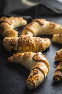 Salted croissant bun roll. Homemade pastry.