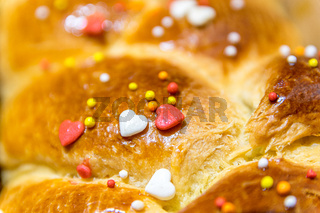 Traditional Cozonac also know as Kozunak, Pasqua, Tsoureki, Choreg. It is a type of Stollen or sweet leavened bread prepared for Easter and for every major holiday in Bulgaria, Romania, and Moldova
