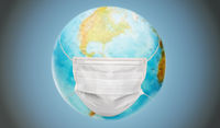 earth planet globe in protective medical mask
