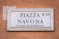 Piazza Navona (Navona's Square) in Rome, Italy, street name sign