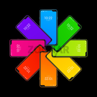 Rainbow colorful smartphone set in circle shape. isolated on black. 3D render