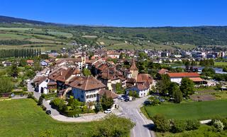 Das historische Städtchen Le Landeron, Kantons Neuenburg, Schweiz