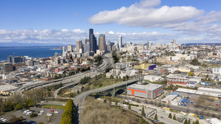 Highway Seattle Washington Downtown Desolate Scene Corona Virus Quarantine