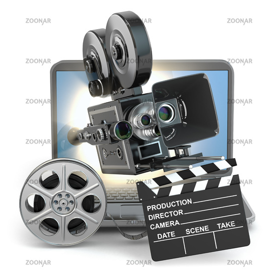 Video concept. Camera on  laptop, still reels and clapboard.