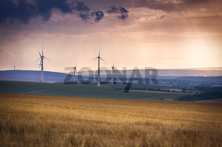 Wind generators near Alzey, Pfalz, Germany