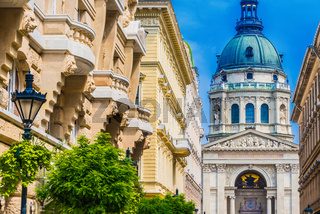 Architecture of Zrinyi utca with St. Stephen's Basilica in Budapest