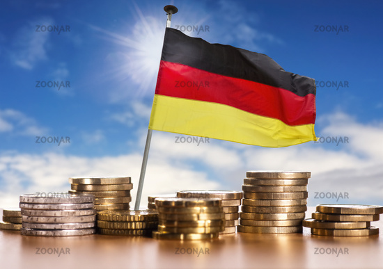German flag with Euro coins
