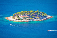 Island of Galisnik in Hvar archipelago aerial view
