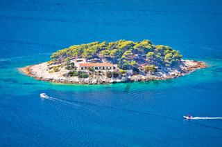 Island of Galisnik in Hvar archipelago aerial view