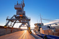 Port city of Rijeka cranes at breakwater view
