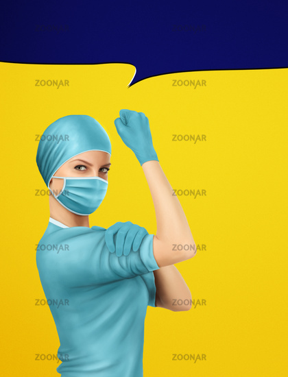 Concept of healthcare worker inspired by classic vintage american We Can Do It poster