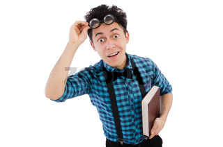 Funny student with books on white