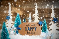 Christmas Trees, Snow, Label With Text Safe And Happy Holidays, Snowflakes