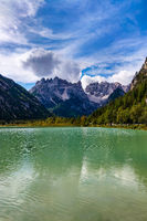 View of the lake and beautiful mountains in Italy.