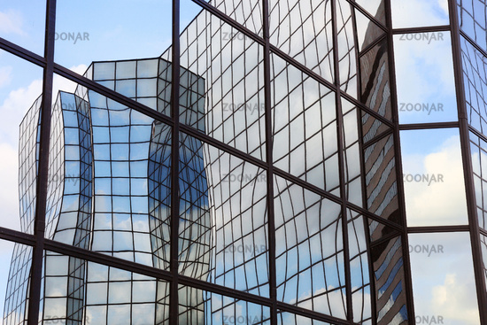 reflections in glass facade