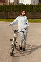 young woman cyclist