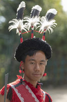 NAGALAND, INDIA, January 2000, Young Naga portrait, Hornbill festival